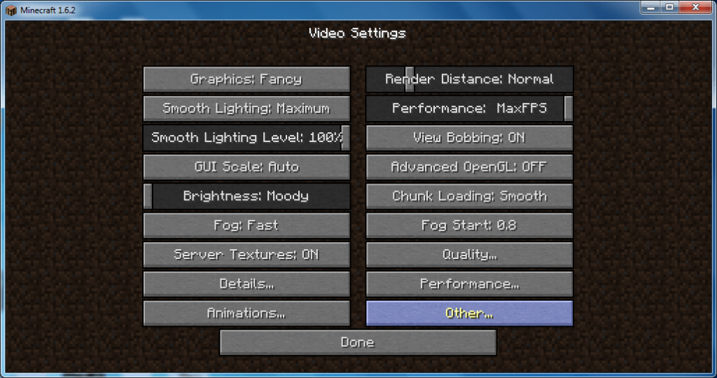 OptiFine HD 1.6.2 Mod